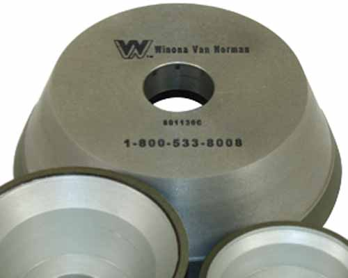 "6"" Diameter, Does corner cutting, No tool switching, CBN last 10 times longer than stone wheels. Winona Van Norman CBN Flywheel Grinding Wheels Very aggressive cutting, take 1/4 of the time of a stone wheel. Does corner cutting, no tool switching, sa"